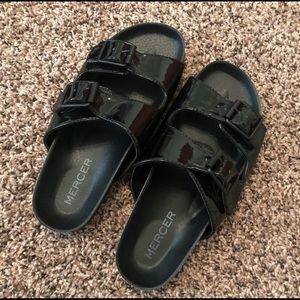 Mercer black buckle slip-on sandals